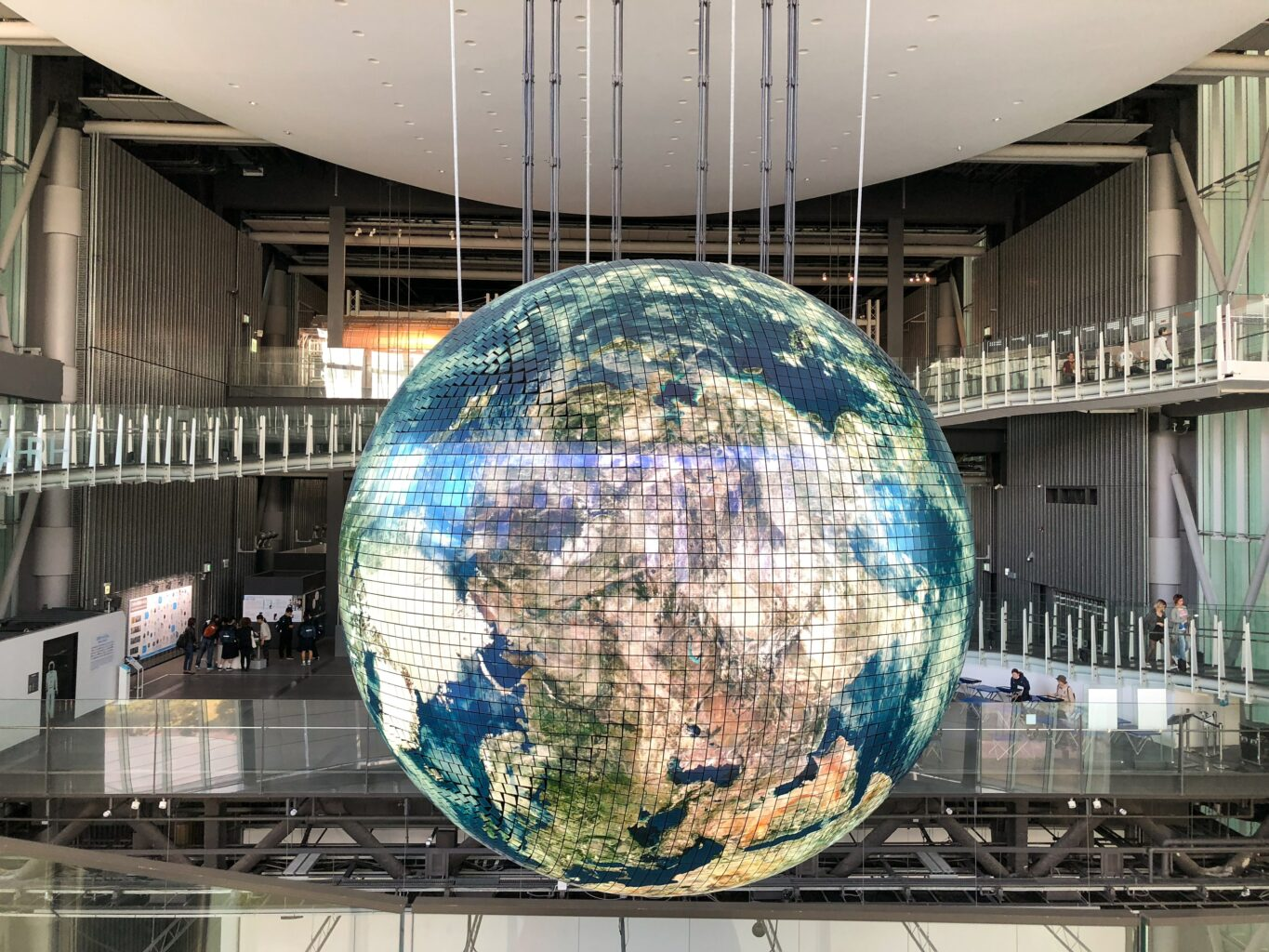 giant globe inside building
